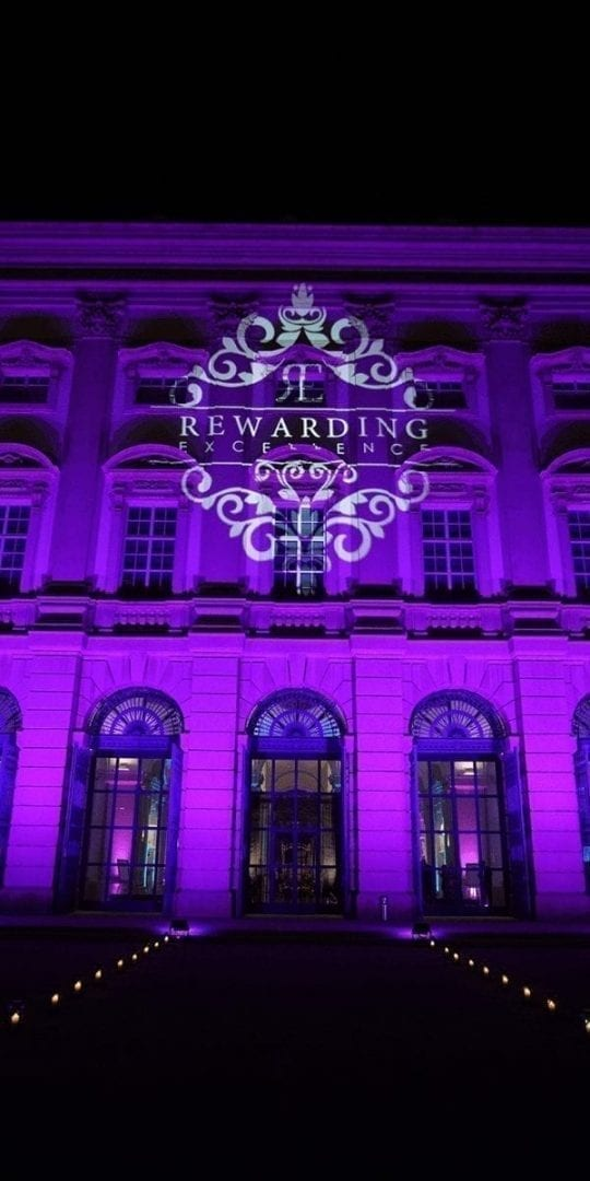 vienna hotel lit up in beautiful purple for PRIMIS rewarding excellence event