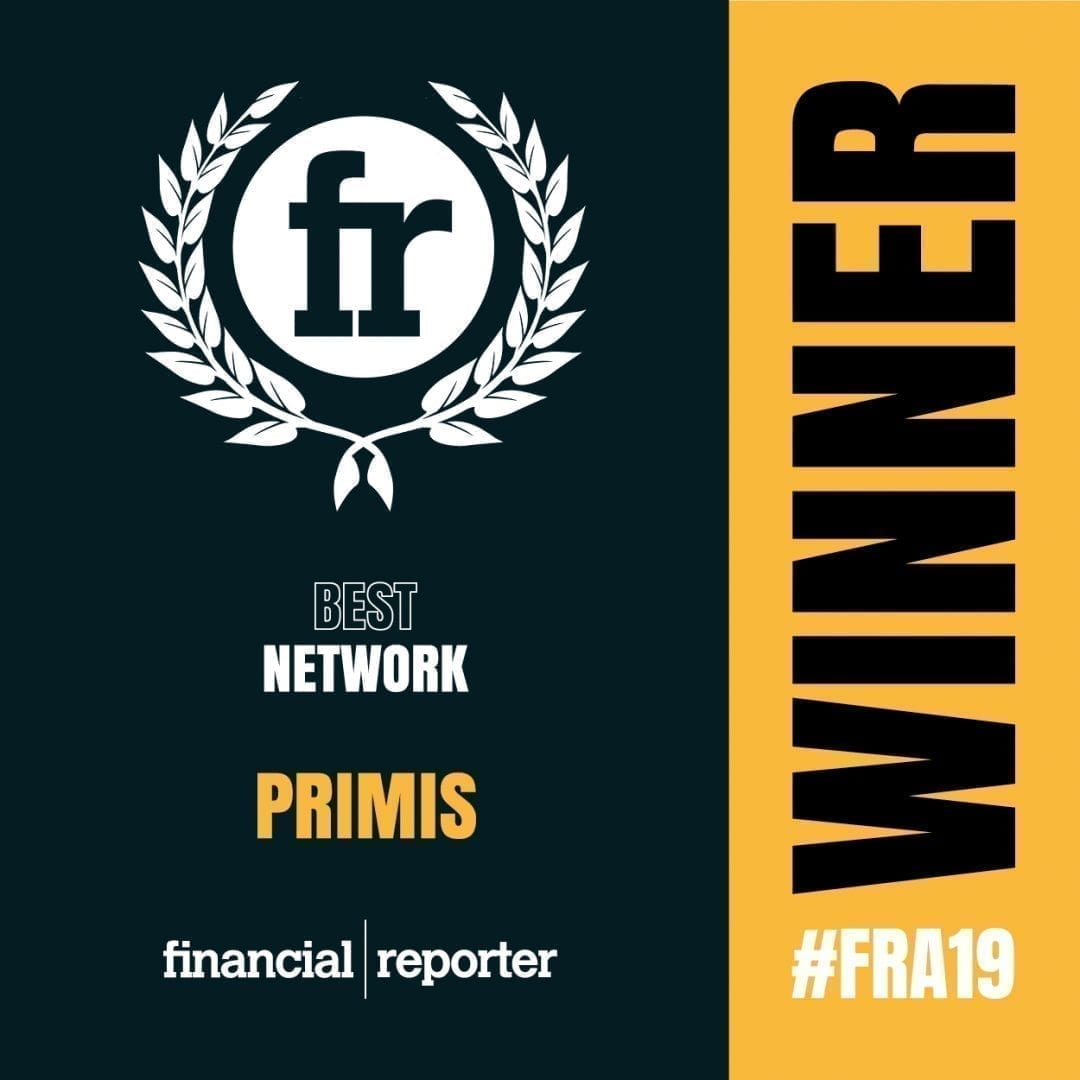 Financial Reporter best network 2019 award image for PRIMIS